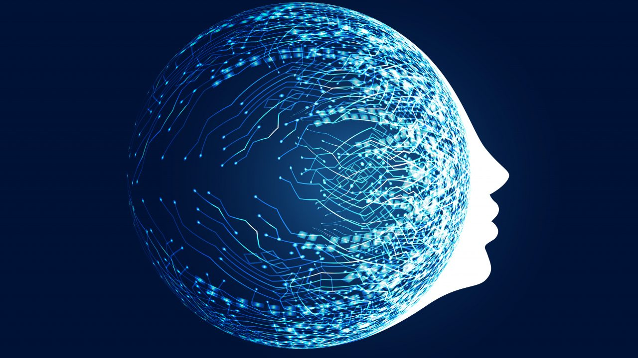 digital face with circuit network concept for machine learning and artificial intelligence