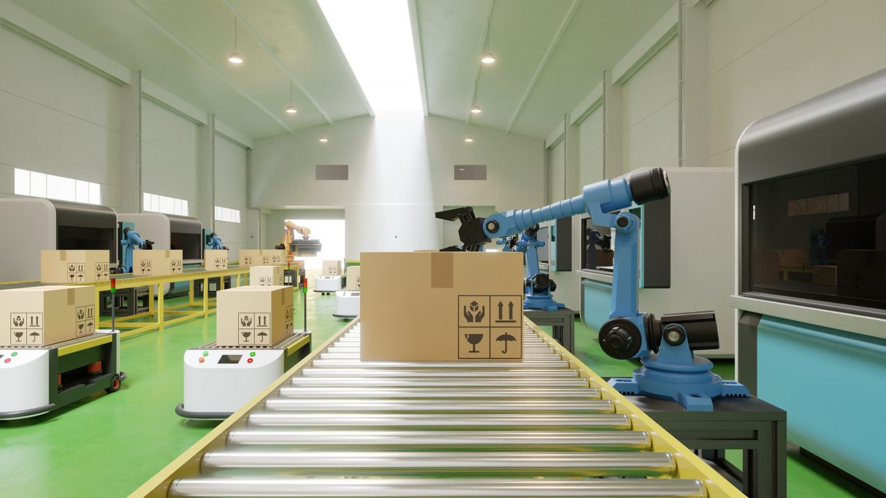 Interior of warehouse in logistic center have AGV/Robot arm,3d rendering